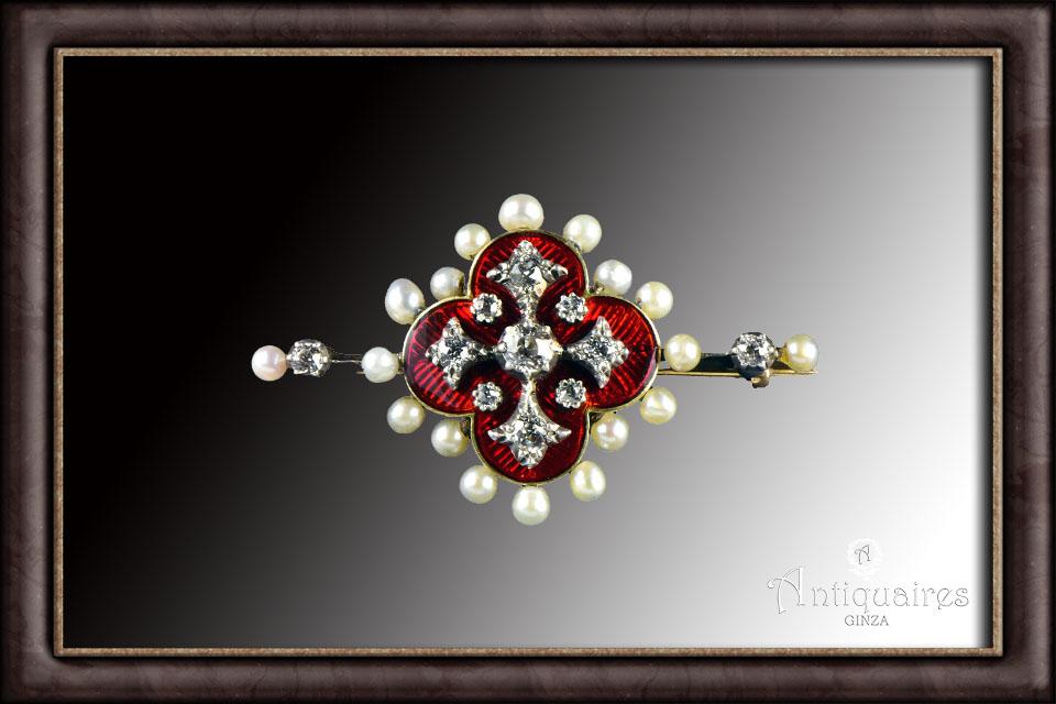 赤エナメルダイヤ&パールのブローチ